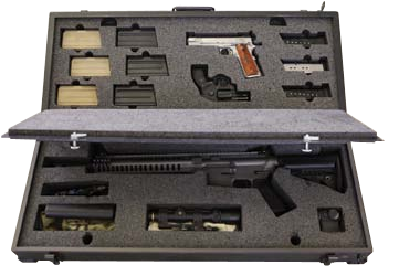 I travel 70,000 air miles a year teaching and training. I usually take a carbine, two handguns, and ancillary gear. They're valuable, so I don't want to cram them into a $50 Wally World case. The custom case pictured is from Impact Case and Container. It's set up for everything I need for a class, including an Aimpoint, scope, light, suppressor, mags, and even handguns. Made of quality aluminum with a bomb-proof locking system, the case will hold and protect everything you need, and it weighs only 30 pounds loaded. It comes in your choice of any powder-coat finish and can be set up for any guns and gear you use.