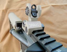 Rear sight on sample gun is excellent Troy Industries rear folding BattleSight.