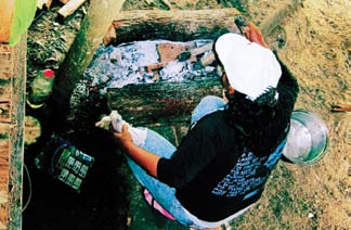 Woman in Amazon jungle cooks a meal for a dozen people between two logs.