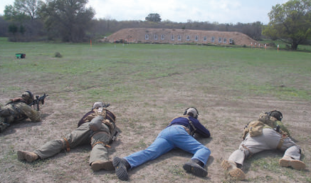Relay shoots Zero Drill at The Quinn Ranch in Brady, Texas. No matter which position you use, you must be low, it must be solid, and you need to be in control of the gun.