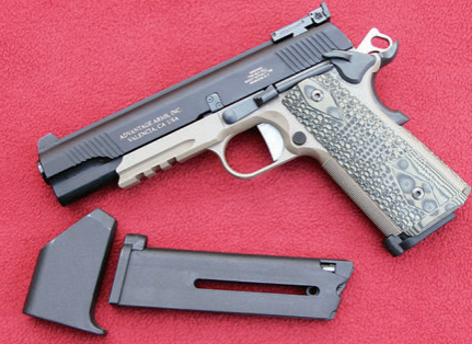 AA kit mounted on SIG Sauer 1911 Scorpion with ten-round magazine and magazine loader. Note fit and finish of slide, external extractor, adjustable rear sight, and forward slide serrations.