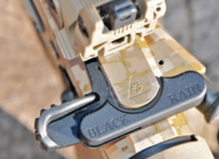 Black Rain Ordnance tactical charging handle shows that details don't have to be gaudy. Upper is also cleanly badged with BRO logo.