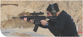 This shooter uses Magpul AFG. While his hand is almost to the end of the rail, he prefers an elbow-down technique using the C-clamp.