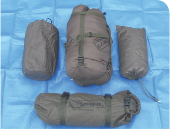 Proforce bivvy bag, sleeping bag, rainfly, and multi-pad are compact and lightweight.