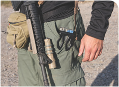 MagClip attaches to a pocket edge much like the common knife clip. Magazine is readily accessible when shooter needs to grab a carbine and move out in a hurry.
