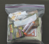 One food kit fits into a one-gallon Ziploc® bag. Author keeps ten such kits in his vehicle at all times.