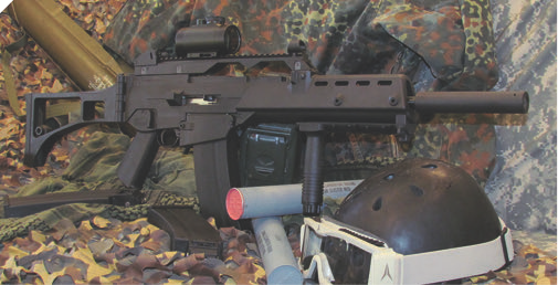 Archangel Nomad is the spitting image of a certain unobtainable German assault rifle. Trademark restrictions preclude any reference to the original, but the parentage is unmistakable.