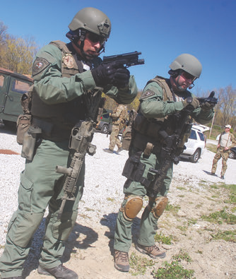 Two Montana SWAT officers follow procedure called Make Ready. By making a personal checklist for your eyes and ears, checking your sidearm and then carbine, red dot sights and lights, you lessen the chances of forgetting any of them. Not following this may lead to disastrous consequences, especially if you need the pistol or your weaponlight and forgot to check that they were ready to go.