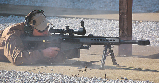 Gas is vented to either side of shooter via very effective muzzle brake.
