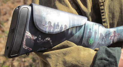 Advanced Technology International markets a universal polymer stock set for Remington, Winchester and Mossberg shotguns that sports screened images of the undead. Might this be considered camouflage or bait? Regardless, these stocks are selling briskly.