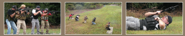 LEFT: Mitch joins students in a drill. MIDDLE: Practicing the kneeling stance. RIGHT: MAT instructors provided a good technique for reloading from prone.