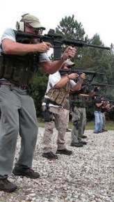 On the firing line at the Man Alone Tactical range.