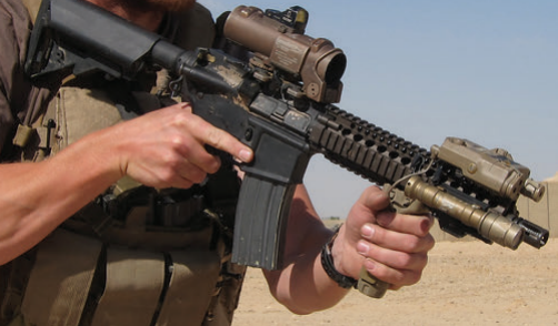 Even with this MK18, accessories and hand are farther forward than possible on the standard short rails.