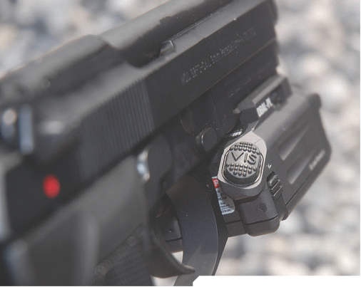VIS button activates 600-lumen white light and visible laser.
