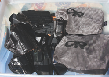 At some point, you will possibly have a dozen or more holsters. The bags compartmentalize gear by weapon platform for ease of identification.