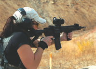 This shooter did not have much carbine experience prior to shooting Huldra Tactical Evo, but its balance, reliability and accuracy allowed her to develop good fundamentals in order to run the carbine effectively. Photo: Susan Kimman