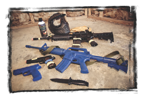 For safety, everyone wore a mask and gloves. Black guns are Airsoft, powered by Green Gas. Rings makes great solid-plastic Blue Guns. Knife is soft rubber.