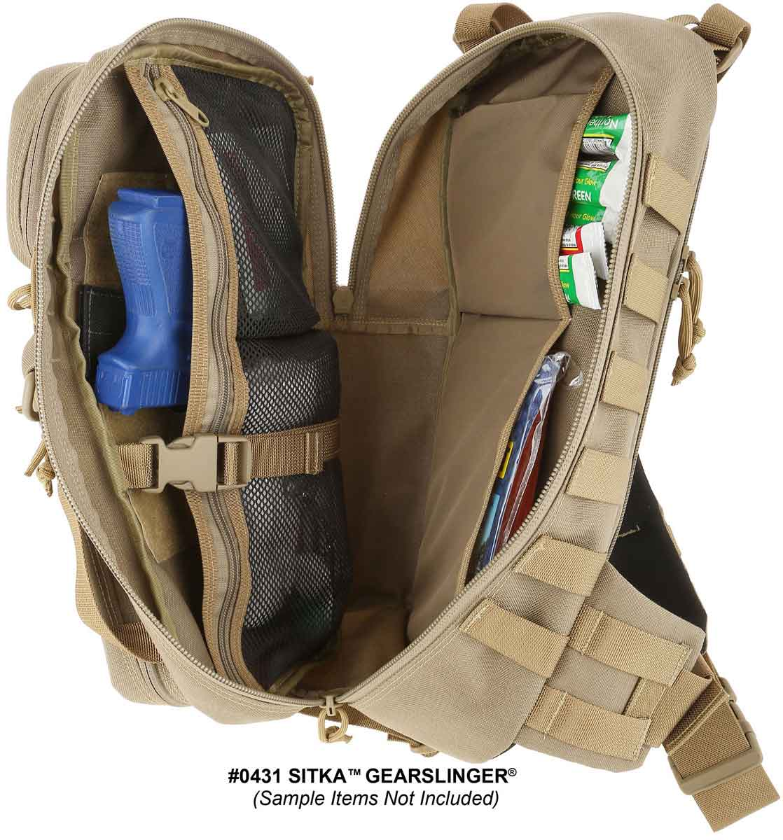 Main compartment's zipper allows full clamshell opening.