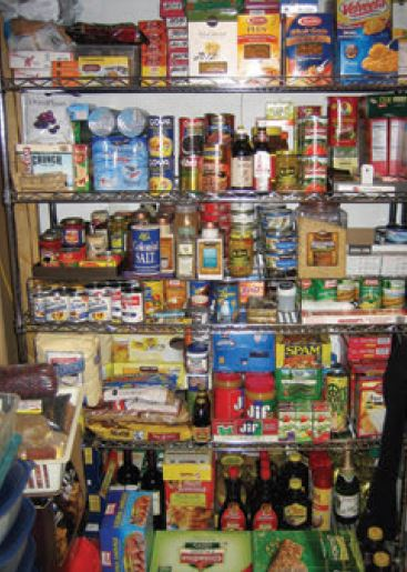 A varied selection of calorie-dense foods that don't require refrigeration will keep you and your family well fed during a crisis. Sturdy metal shelves are a good solution for organizing and keeping a visual inventory of your emergency food supplies.