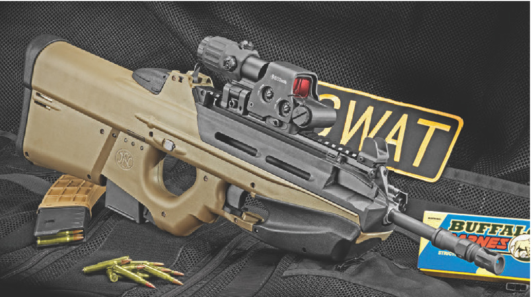 Right side of FS2000. When silver button above trigger guard is pushed out to left side, FS2000 can be broken down into upper and lower receivers with bolt group and barrel lifted free.