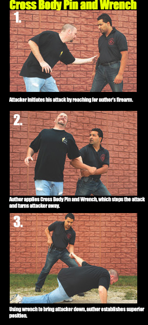 Attacker initiates his attack by reaching for author's firearm.  Author applies Cross Body Pin and Wrench, which stops the attack and turns attacker away.  Using wrench to bring attacker down, author establishes superior position.