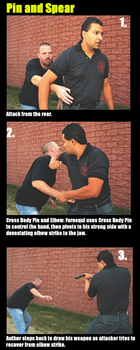 Attack from the rear.  Cross Body Pin and Elbow: Farooqui uses Cross Body Pin to control the hand, then pivots to his strong side with a devastating elbow strike to the jaw.  Author steps back to draw his weapon as attacker tries to recover from elbow strike.