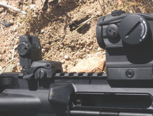 Magpul MBUS flip-up rear sight on Sionics carbine.