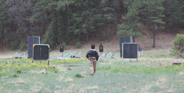 One of many dynamic shooting stages. Targets must be hit in the red to count.