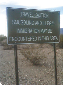 Many signs in southwest portion of Pinal County, Arizona warn citizens of impending dangers.