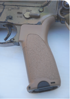 Mod 1 grip on author's personal rifle. Gunfighter Grip comes with two inserts: one smooth and one with a lip. Rifles with oversize aftermarket trigger guards use the smooth insert, while those with the issue trigger guard use the larger insert.