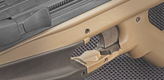 Toggle safety selector located under trigger allows for ambidextrous access.