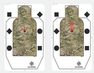 Graphic attempts to show shooter's perspective on tracking recoil with Aimpoint T-1 during five rapid shots to an EAG target at ten yards with flash hider equipped carbine (right) and its twin with BattleComp (left).