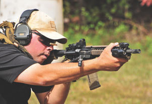 Author tests BCM/NiB-X rifle at TDI Ohio Tactical Rifle II course.