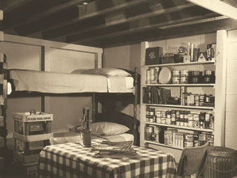 During Cold War, citizens were encouraged to build a fallout shelter at home and stock it with 14 days' worth of provisions. In retrospect, they were placebo protection at best— but it's amazing how many people in Tornado Alley don't have even this much today. Photo: NARA