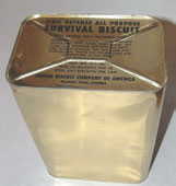 At height of Cold War, DoD gave these to local authorities to disperse in buildings suitable for civilian bomb shelters. Many stocks were discarded as rancid in the late 1970s and used for animal feed. They have fed itinerant journalists well past that date. Photo: courtesy www.civildefensemuseum.com