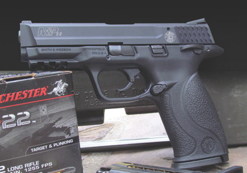 Left side of M&P22. Pistol is a perfect sub-caliber trainer for those who carry a full-size M&P pistol.