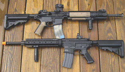 KWA KM4 SR10 Airsoft rifle is a near match to this BCM4 mid-length carbine. Skills practiced indoors or in the yard transfer readily back to the 5.56mm gun.