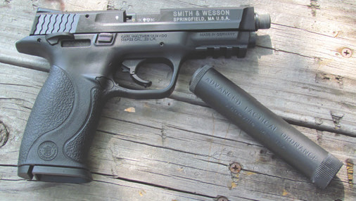 S&W M&P22 utilizes fixed barrel with threaded barrel retention system that is perfect for a suppressor. Add a standard thread adaptor and it's plug and play.