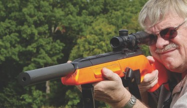 Suppressed Steyr Scout. Orange stock is for Dutch Navy rifles.