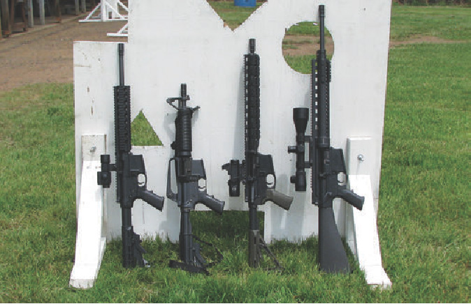 AR-type guns for any occasion. Left to right: .22 LR, 9mm, 5.56x45mm and .308.