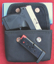 Taurus carry case will accept extra six-round magazine and trigger-guard mounted Crimson Trace laser.
