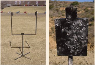Left: This rebar cardboard target stand is a poor choice for close-quarters shooting, as any round hitting the rebar will send splatter in unpredictable directions. Right: This steel target is a medevac waiting to happen.