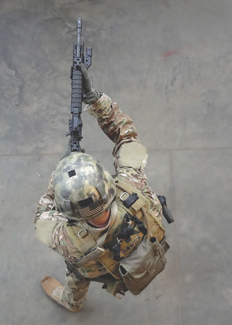 This shooter is running bladed in a attempt to minimize exposure. From this angle, it's obvious the benefit of running bladed— even from a threat directly to the front—is minimal. If engaged from any other angle, there is no benefit at all. It's better to run in an offensive stance that facilitates your shooting to the best of your ability!