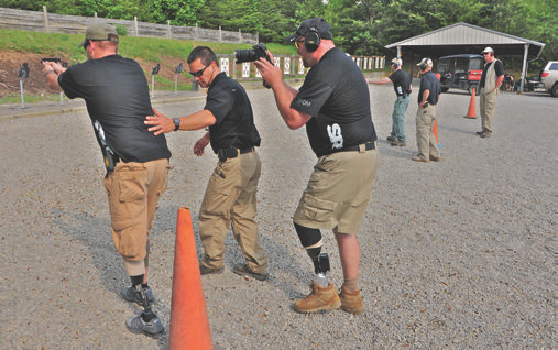 Sam (instructing) and Shawn (cameraman) stayed involved in all aspects of this class. Not only is shooter wearing a BiOM, so is Shawn. Neither stumbled during this movement drill, which required shooting and loading on the move.