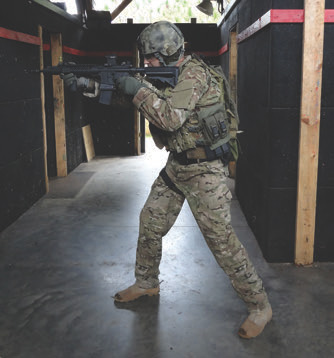 … or a tactical situation, the demands on the shooter are the same. With a deep aggressive fighting stance, you are set up to fire the fastest, most accurate shots possible.