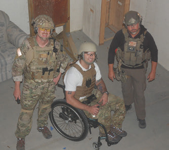 Author and Mr. Grumpy with Wounded Warrior Jace Badia after a great run through a shoot house.