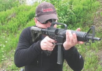 Steve McDaniel of Alaska Tactical runs Colt 9mm carbine.