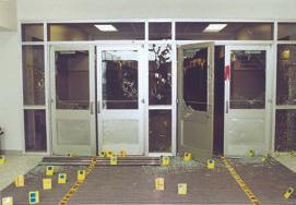 Crime scene at Columbine High School's entryway.