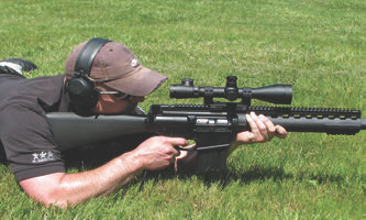 Tom O'Connor of Leupold shoots LaRue Tactical OBR.