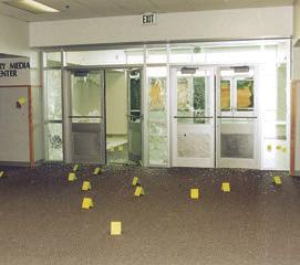 Numerous crime scene markers in hallway at Columbine High School in Colorado.